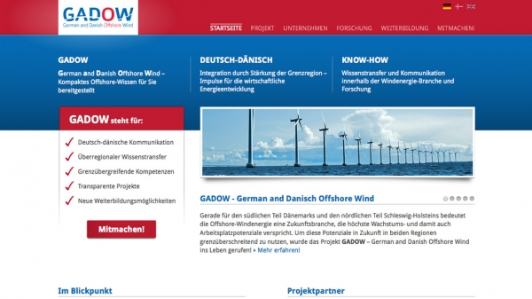 Screenshot der Webseite 'German and Danish Offshore Wind'