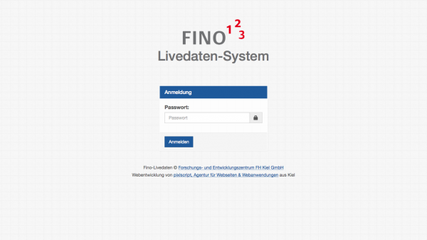 Screenshot des Login-Screens der Webanwendung FINO Livedaten-System.