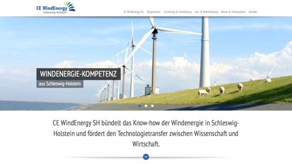 Screenshot der Webseite 'CE WindEnergy SH'
